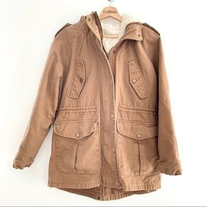 Brown Parka With Removable Sherpa Fur Lining Lage